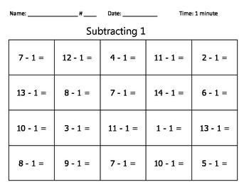 Subtraction Basic Facts Quizzes