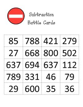 Subtraction Battle Game