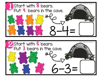 Subtraction Bears in the Cave- With and Without QR Codes