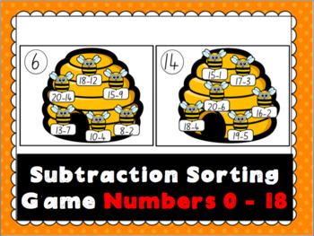 Subtraction Bee Sorting Game