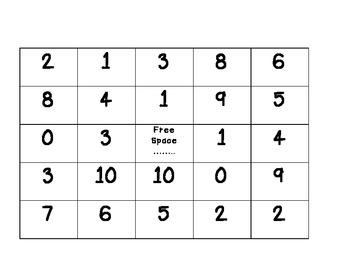 Subtraction Bingo: 1-10