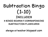 Subtraction Bingo: 1-10
