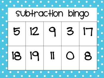 Subtraction Bingo