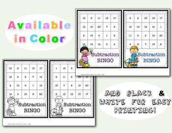 Subtraction Bingo Card Set