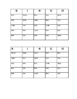 Subtraction Bingo Game