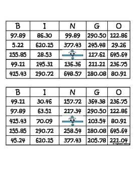 Subtraction Bingo Two Decimals