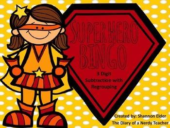 Superhero 3 Digit Subtraction Bingo With Regrouping