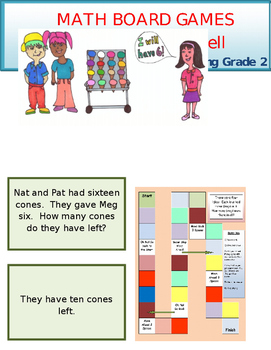 Subtraction Board Game Grade 2 Math and  Reading