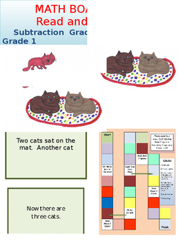 Subtraction Board Game Kindergarten Math and  Reading
