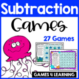 Subtraction Games for Subtraction Facts: Ocean Animals Subtraction Board Games