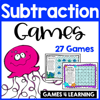 Ocean Animals Subtraction Games for Fact Fluency
