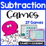 Ocean Animals Subtraction Games for Fact Fluency: Printable Math Board Games