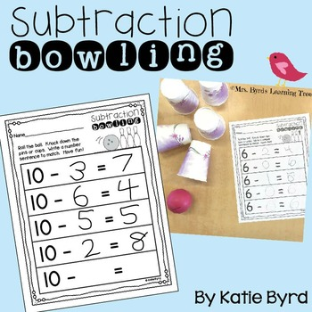 Subtraction Bowling ~ Number Sentence Recording sheets