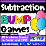 Subtraction Bump Games: 25 Subtraction Facts Games [Australian UK NZ Edition]