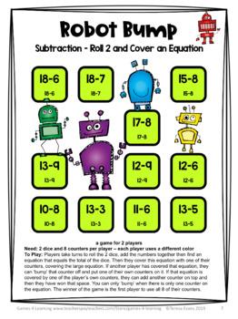 Subtraction Free: Subtraction Games No Prep Subtraction Facts Bump Games