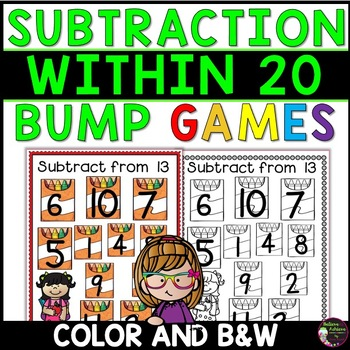 Subtraction Bump Games -Subtraction Facts 20 and less (Back to School Theme)