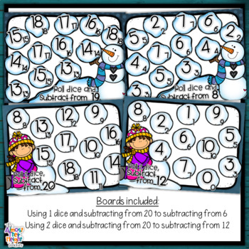 Subtraction Bump Games - Winter themed