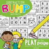 Subtraction Bump Play-on-the-Page Worksheet Games