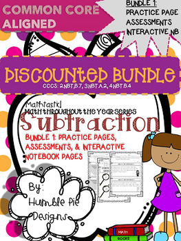 Subtraction Bundle 1: Interactive Notebook, Assessments, & Practice Pages