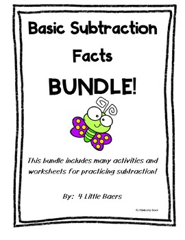 Basic Facts Subtraction BUNDLE! - Basic Facts Activities for Subtraction
