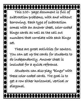 Subtraction Bundle {over 180 Problems + Bingo Cards}