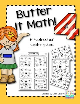 Subtraction - Butter It Math 4 {K/1} Common Core Activity