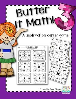 Subtraction - Butter It Math 3 {K/1} Common Core Activity