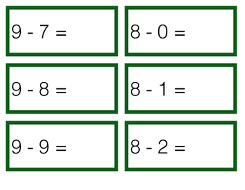 Subtraction Cards - Basic Facts 0-10