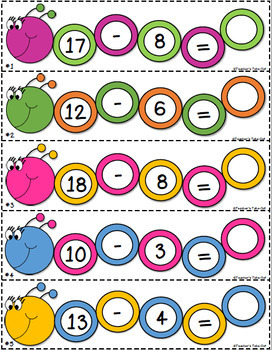 Subtraction Caterpillars Facts 18-10