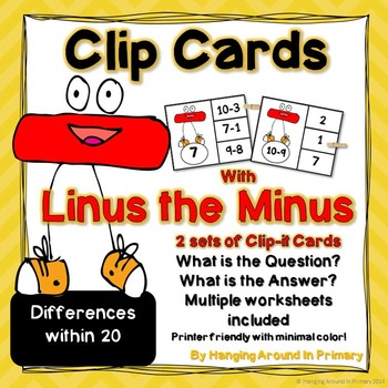 Subtraction Math Center - Clip Cards with Linus the Minus