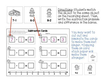 Subtraction Center Activities for Kindergarten