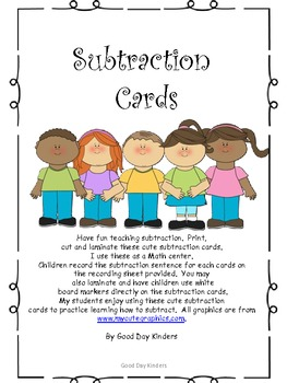 Subtraction Center Cards