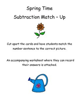 Subtraction Center - Spring Theme