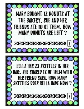 2-digit Subtraction Word Problems: Task Cards Without Regrouping -Result Unknown