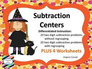 Subtraction Centers---two digit set without and two digit set with regrouping