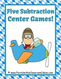 Subtraction Transportation Airplane Themed Five Mix and Match Center Games