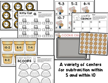 Subtraction Centers and Activities for Pre-K and Kindergarten
