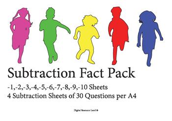 Subtraction Challenge Sheets 1-10 (4 Tests per sheet)