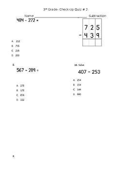 Subtraction Check Up Quiz 3.NBT.2