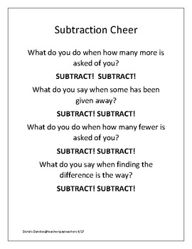 Subtraction Cheer