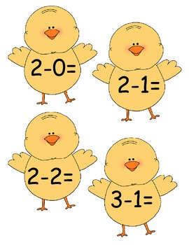 Subtraction Chicks Egg Hunt Cake Walk Write the room  8 games in All