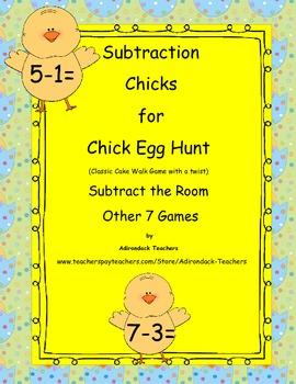 Subtraction Chicks Egg Hunt Cake Walk Write the room  8 ga
