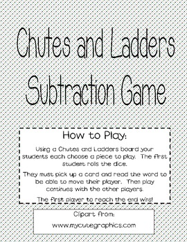 Subtraction Chutes and Ladders Cards