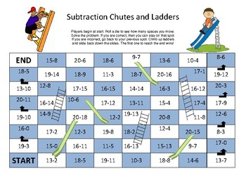 Subtraction Chutes and Ladders- Up to 20