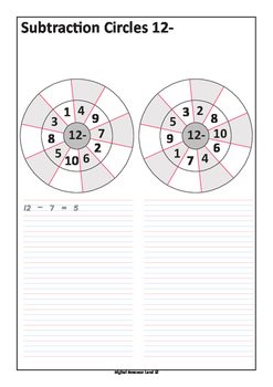 Subtraction Circles with Number Sentences - Subtraction from 20 to 0
