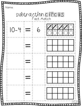 Subtraction Circus Fact Match {within 10}