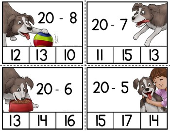 Subtraction Clip Card Activities Dogs