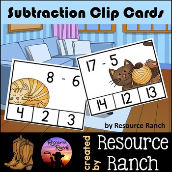 Subtraction Clip Cards CATS