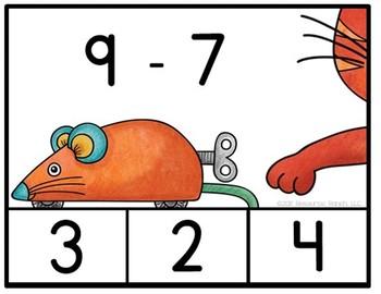 Subtraction Center CATS clip card activity