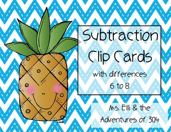 Subtraction Clip Cards {Differences 6-8}